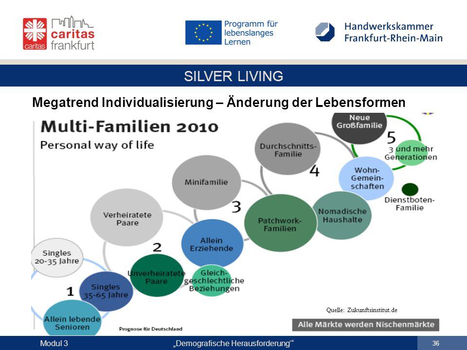 """SILVER LIVING """"Demografische Herausforderung'"""" 36 Modul 3 Megatrend Individualisierung – Änderung der Lebensformen Quelle: Zukunftsinstitut.de"""