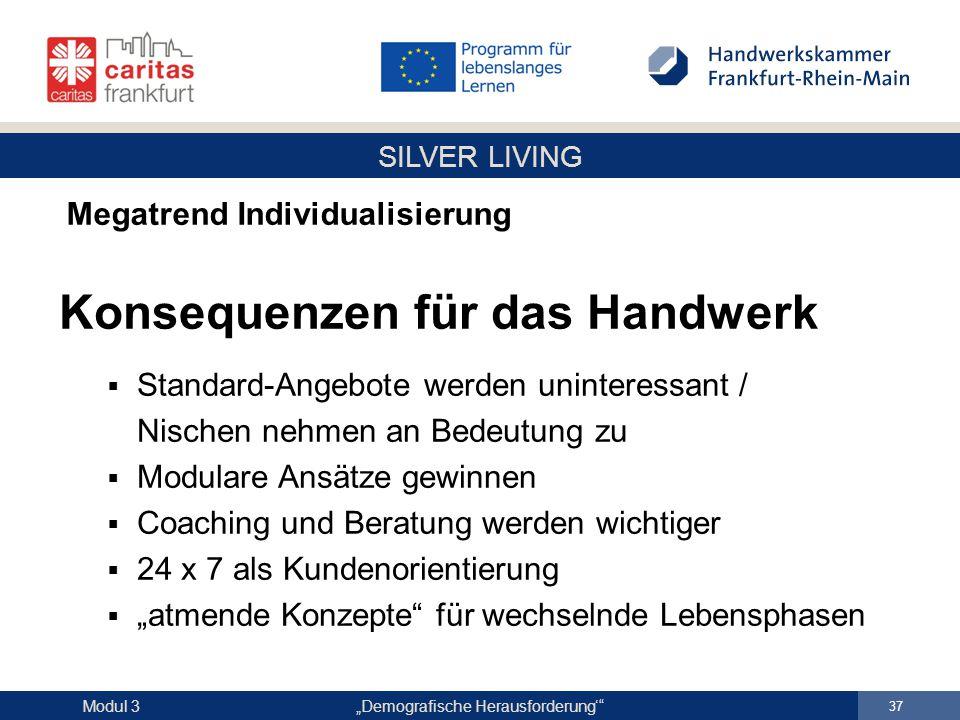 """SILVER LIVING """"Demografische Herausforderung'"""" 37 Modul 3 Megatrend Individualisierung Konsequenzen für das Handwerk  Standard-Angebote werden uninte"""