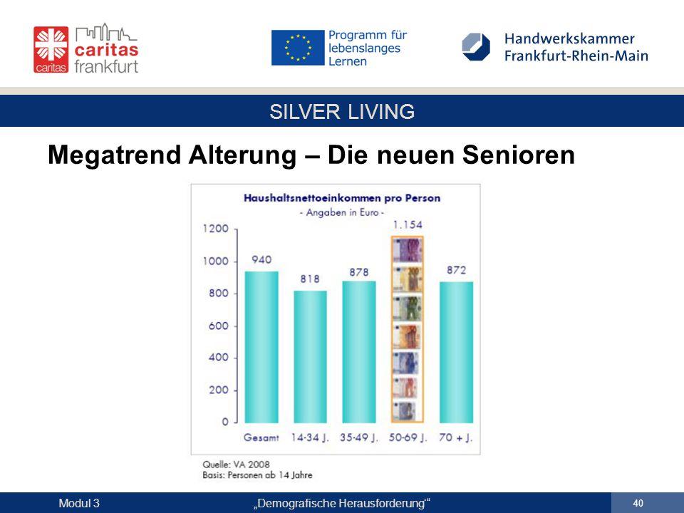 """SILVER LIVING """"Demografische Herausforderung'"""" 40 Modul 3 Megatrend Alterung – Die neuen Senioren"""