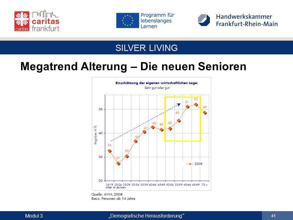 """SILVER LIVING """"Demografische Herausforderung'"""" 41 Modul 3 Megatrend Alterung – Die neuen Senioren"""