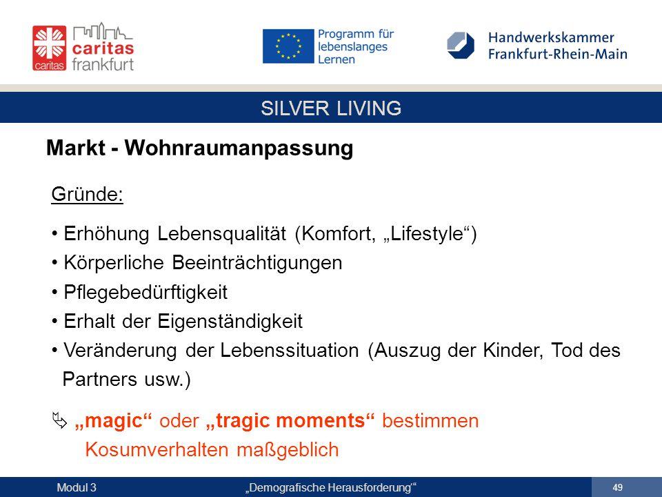 """SILVER LIVING """"Demografische Herausforderung'"""" 49 Modul 3 Markt - Wohnraumanpassung Gründe: Erhöhung Lebensqualität (Komfort, """"Lifestyle"""") Körperliche"""