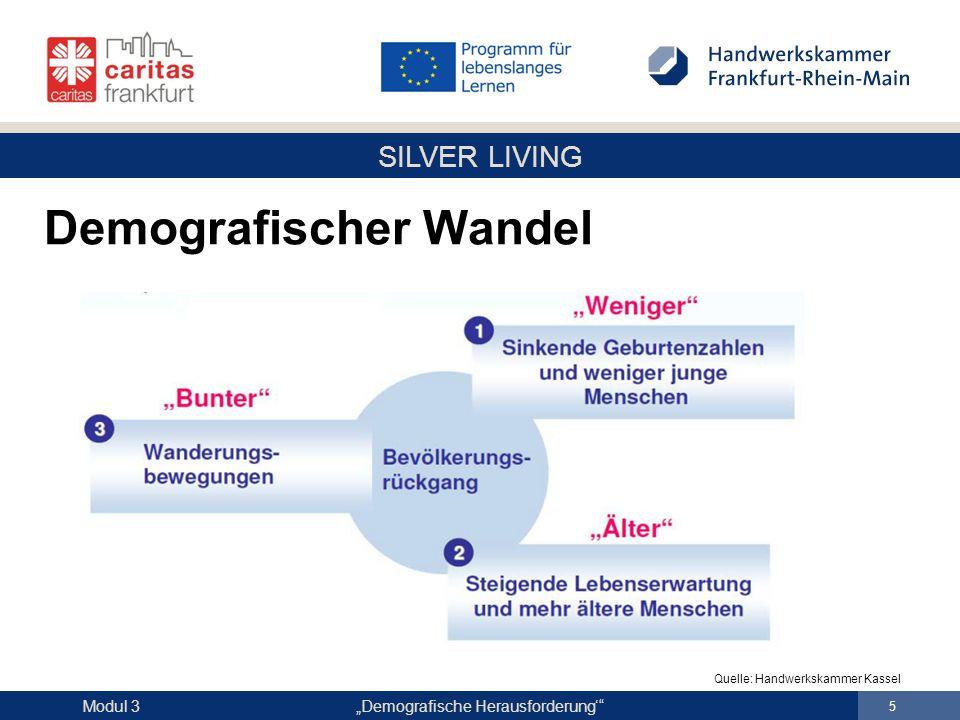 """SILVER LIVING """"Demografische Herausforderung'"""" 5 Modul 3 Demografischer Wandel Quelle: Handwerkskammer Kassel"""