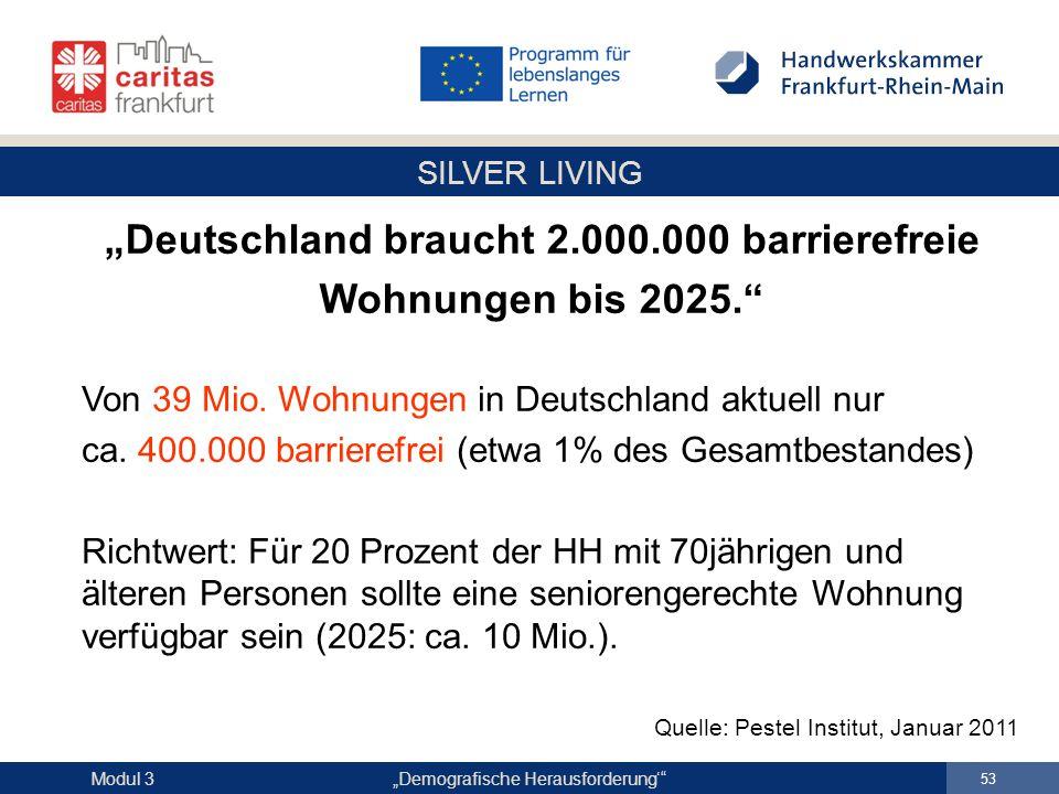 """SILVER LIVING """"Demografische Herausforderung'"""" 53 Modul 3 """"Deutschland braucht 2.000.000 barrierefreie Wohnungen bis 2025."""" Von 39 Mio. Wohnungen in D"""