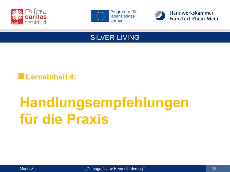"""SILVER LIVING """"Demografische Herausforderung'"""" 54 Modul 3 Lerneinheit 4: Handlungsempfehlungen für die Praxis"""