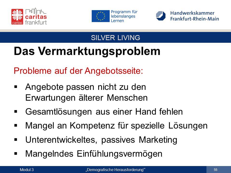 """SILVER LIVING """"Demografische Herausforderung'"""" 55 Modul 3 Probleme auf der Angebotsseite:  Angebote passen nicht zu den Erwartungen älterer Menschen"""