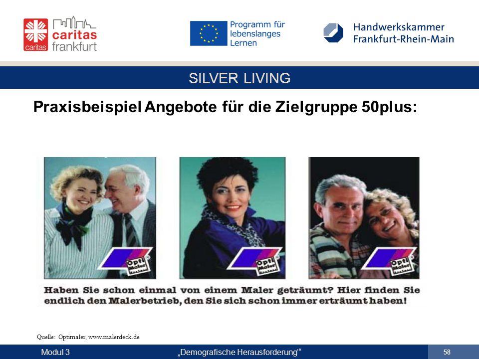 """SILVER LIVING """"Demografische Herausforderung'"""" 58 Modul 3 Praxisbeispiel Angebote für die Zielgruppe 50plus: Quelle: Optimaler, www.malerdeck.de"""