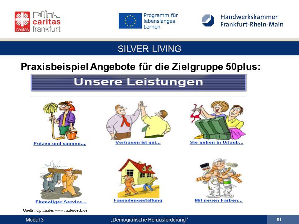 """SILVER LIVING """"Demografische Herausforderung'"""" 61 Modul 3 Praxisbeispiel Angebote für die Zielgruppe 50plus: Quelle: Optimaler, www.malerdeck.de"""