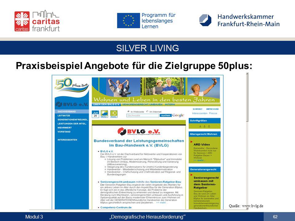 """SILVER LIVING """"Demografische Herausforderung'"""" 62 Modul 3 Praxisbeispiel Angebote für die Zielgruppe 50plus: Quelle: www.bvlg.de"""