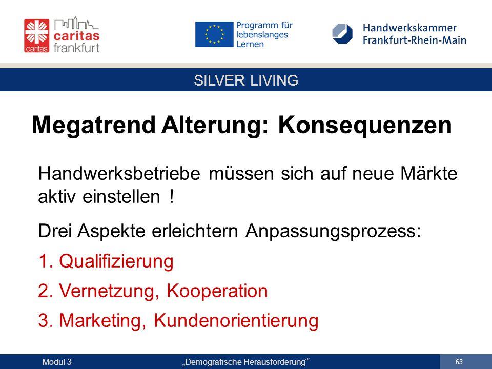 """SILVER LIVING """"Demografische Herausforderung'"""" 63 Modul 3 Handwerksbetriebe müssen sich auf neue Märkte aktiv einstellen ! Drei Aspekte erleichtern An"""