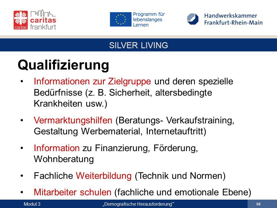 """SILVER LIVING """"Demografische Herausforderung'"""" 64 Modul 3 Informationen zur Zielgruppe und deren spezielle Bedürfnisse (z. B. Sicherheit, altersbeding"""
