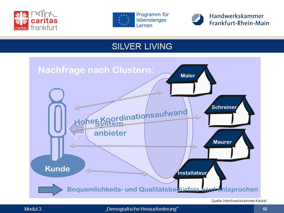 """SILVER LIVING """"Demografische Herausforderung'"""" 66 Modul 3 Quelle: Handwerkskammer Kassel"""