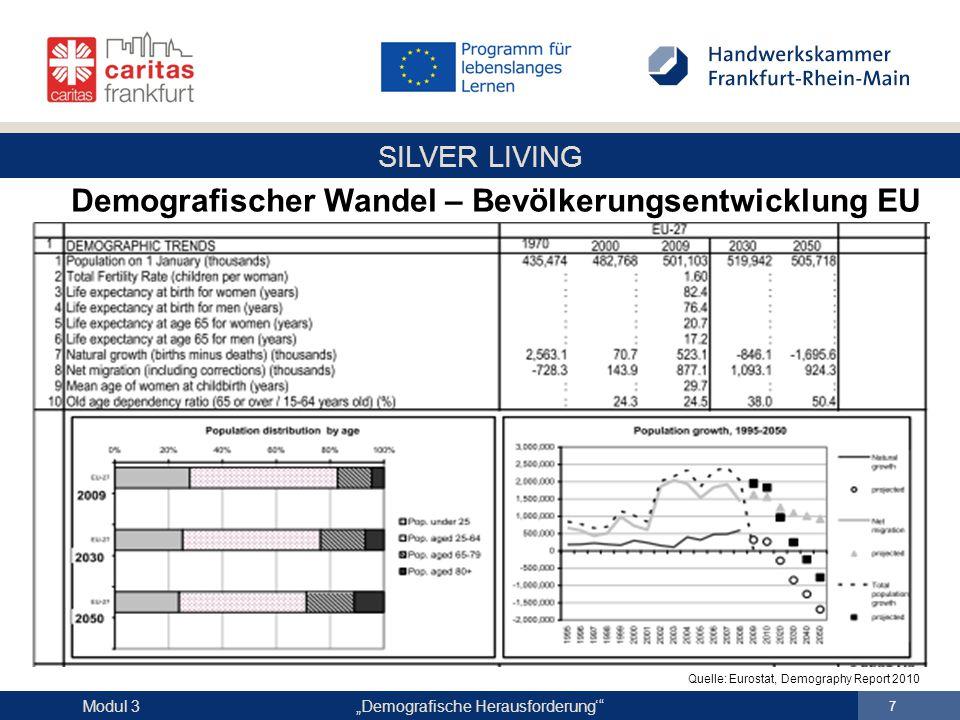 """SILVER LIVING """"Demografische Herausforderung'"""" 7 Modul 3 Quelle: Eurostat, Demography Report 2010 Demografischer Wandel – Bevölkerungsentwicklung EU"""