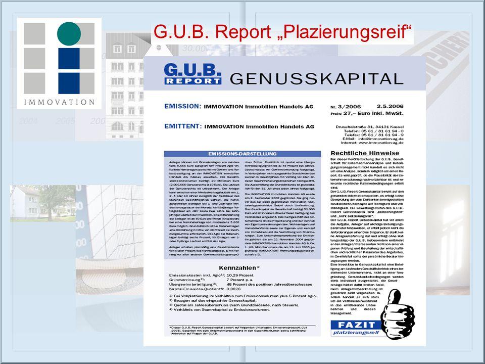 """G.U.B. Report """"Plazierungsreif"""""""