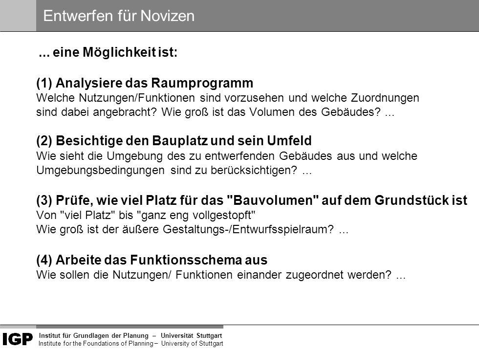 Institut für Grundlagen der Planung– Universität Stuttgart Institute for the Foundations of Planning – University of Stuttgart Innen versus außen