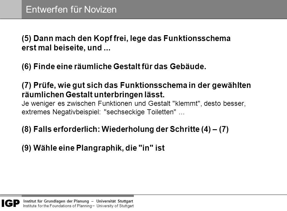 Institut für Grundlagen der Planung– Universität Stuttgart Institute for the Foundations of Planning – University of Stuttgart Man kann natürlich auch als Novize versuchen, viele weitere Aspekte in den Entwurf zu integrieren.