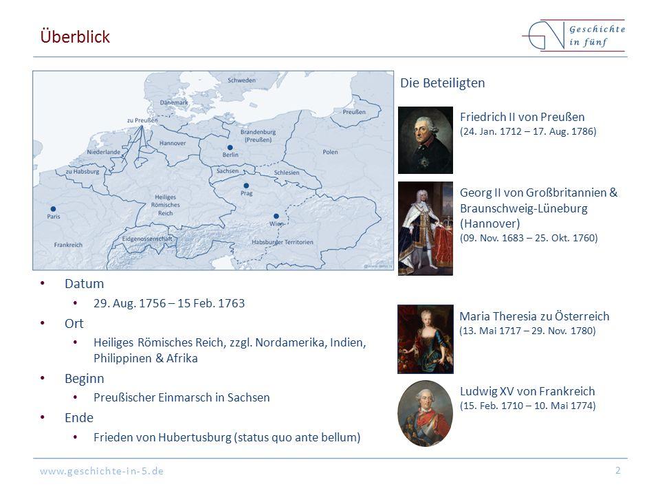 www.geschichte-in-5.de Überblick Datum 29. Aug. 1756 – 15 Feb. 1763 Ort Heiliges Römisches Reich, zzgl. Nordamerika, Indien, Philippinen & Afrika Begi