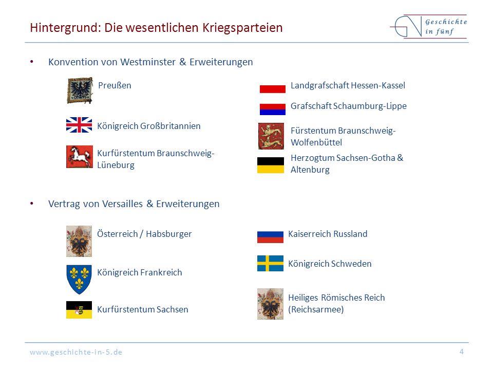 www.geschichte-in-5.de Hintergrund: Die wesentlichen Kriegsparteien Konvention von Westminster & Erweiterungen Vertrag von Versailles & Erweiterungen