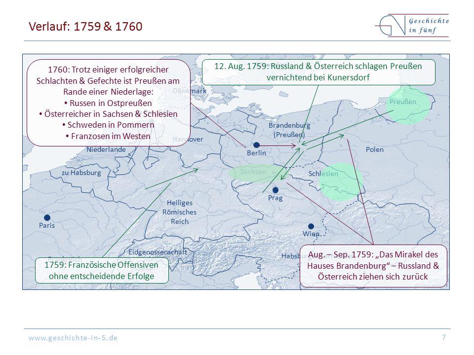 www.geschichte-in-5.de Verlauf: 1759 & 1760 7 Wien Paris Dänemark Frankreich zu Habsburg Schweden Niederlande Preußen Brandenburg (Preußen) Habsburger