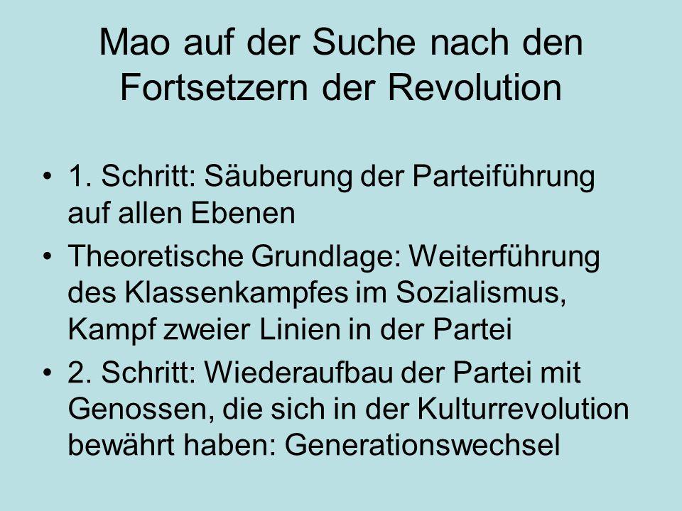 Mao auf der Suche nach den Fortsetzern der Revolution 1. Schritt: Säuberung der Parteiführung auf allen Ebenen Theoretische Grundlage: Weiterführung d