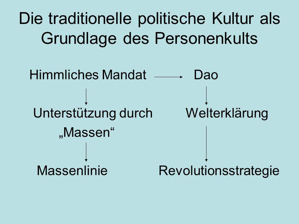 """Die traditionelle politische Kultur als Grundlage des Personenkults Himmliches Mandat Dao Unterstützung durch Welterklärung """"Massen"""" Massenlinie Revol"""
