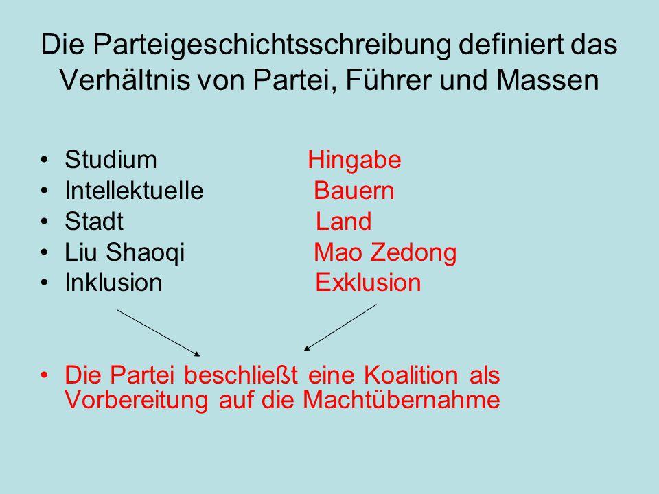 Die Parteigeschichtsschreibung definiert das Verhältnis von Partei, Führer und Massen Studium Hingabe Intellektuelle Bauern Stadt Land Liu Shaoqi Mao