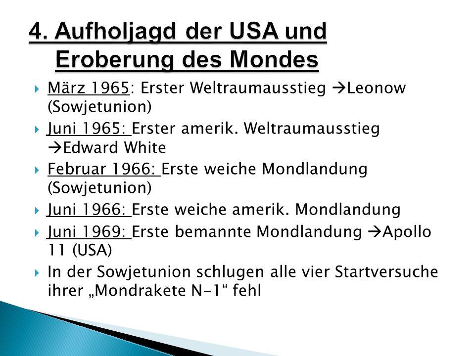  März 1965: Erster Weltraumausstieg  Leonow (Sowjetunion)  Juni 1965: Erster amerik.