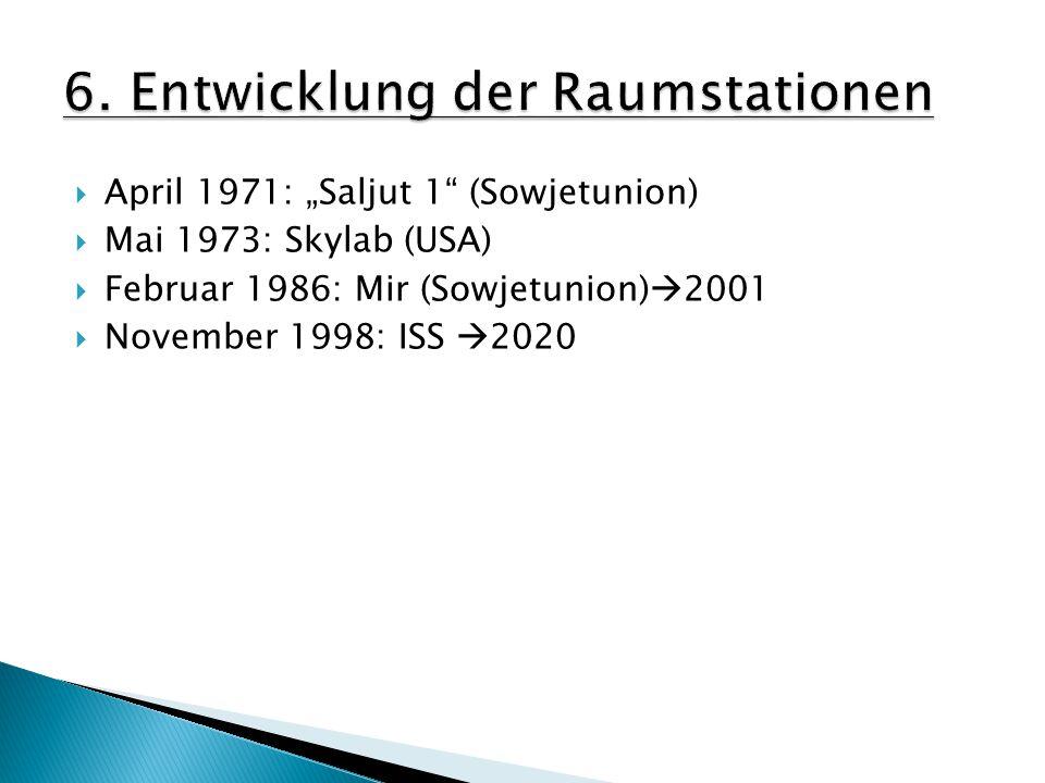 " April 1971: ""Saljut 1 (Sowjetunion)  Mai 1973: Skylab (USA)  Februar 1986: Mir (Sowjetunion)  2001  November 1998: ISS  2020"