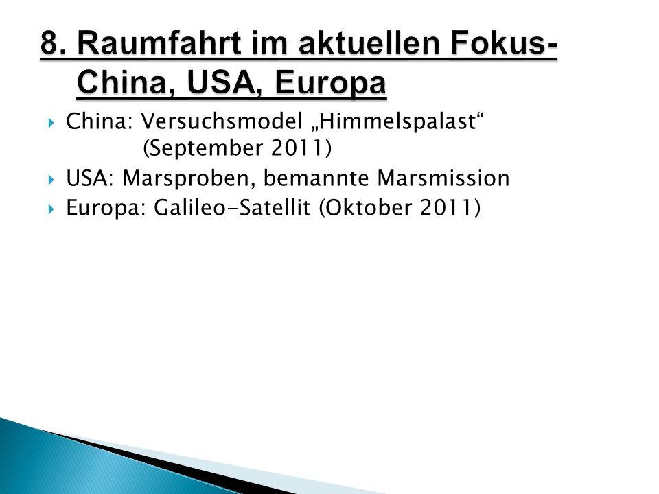 " China: Versuchsmodel ""Himmelspalast (September 2011)  USA: Marsproben, bemannte Marsmission  Europa: Galileo-Satellit (Oktober 2011)"
