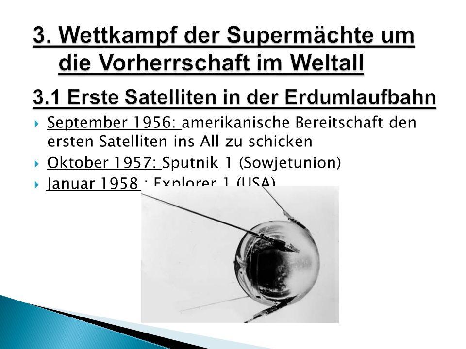  September 1956: amerikanische Bereitschaft den ersten Satelliten ins All zu schicken  Oktober 1957: Sputnik 1 (Sowjetunion)  Januar 1958 : Explorer 1 (USA)