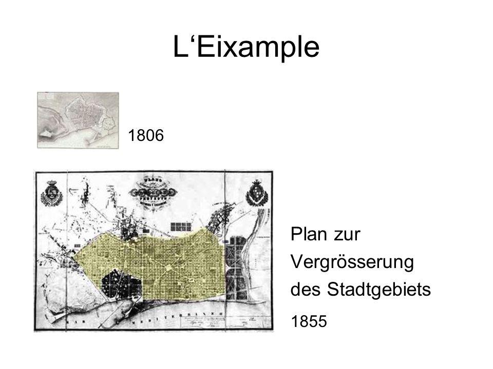 L'Eixample Plan zur Vergrösserung des Stadtgebiets 1806 1855