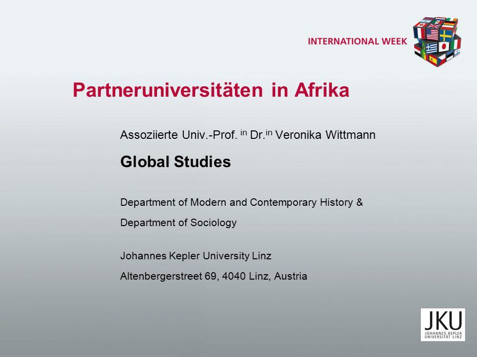 Partneruniversitäten in Afrika Assoziierte Univ.-Prof.