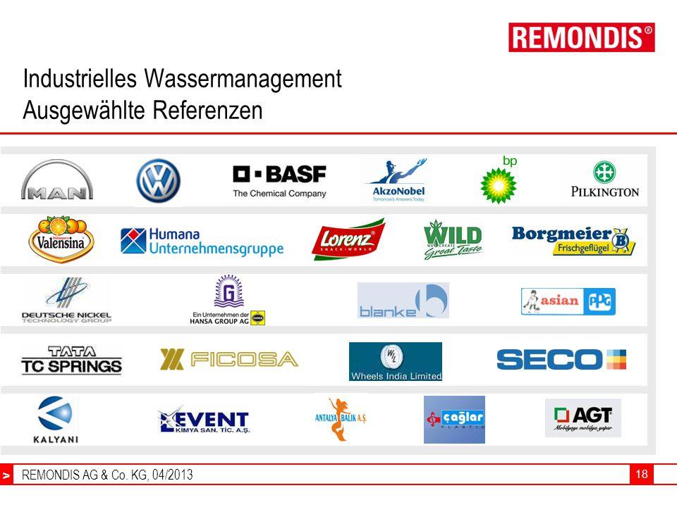 REMONDIS AG & Co. KG, 04/2013 > 18 Industrielles Wassermanagement Ausgewählte Referenzen