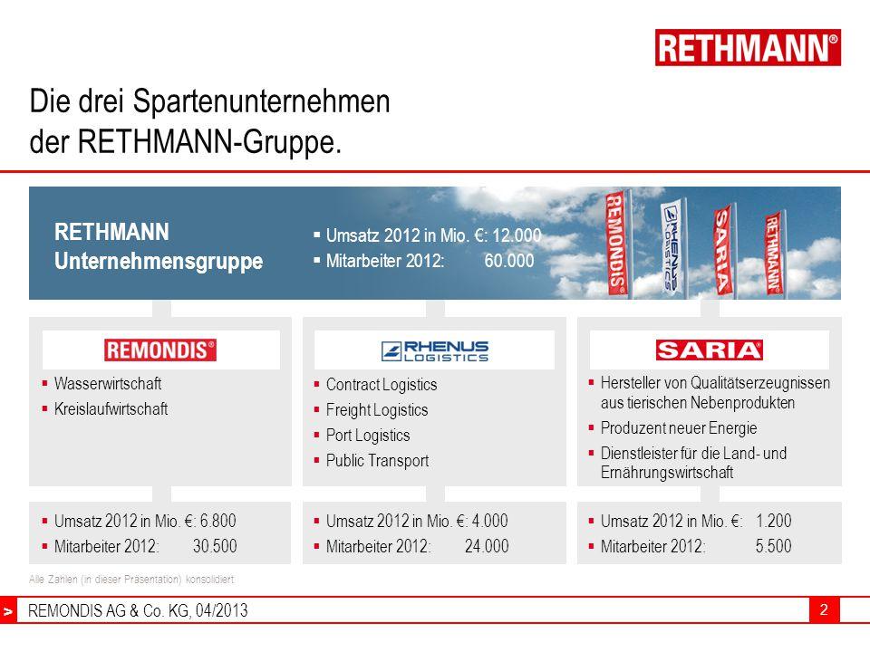 REMONDIS AG & Co.KG, 04/2013 > 2 Die drei Spartenunternehmen der RETHMANN-Gruppe.