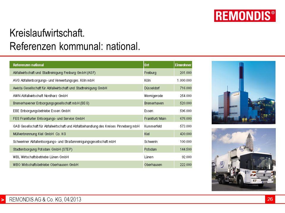 REMONDIS AG & Co. KG, 04/2013 > 26 Kreislaufwirtschaft. Referenzen kommunal: national.