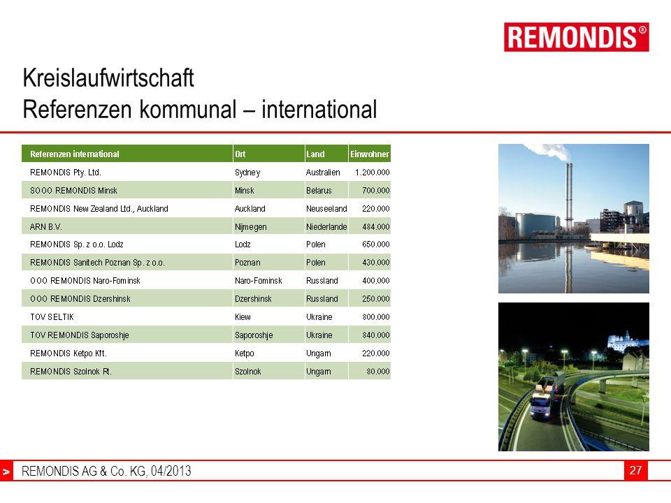 REMONDIS AG & Co. KG, 04/2013 > 27 Kreislaufwirtschaft Referenzen kommunal – international