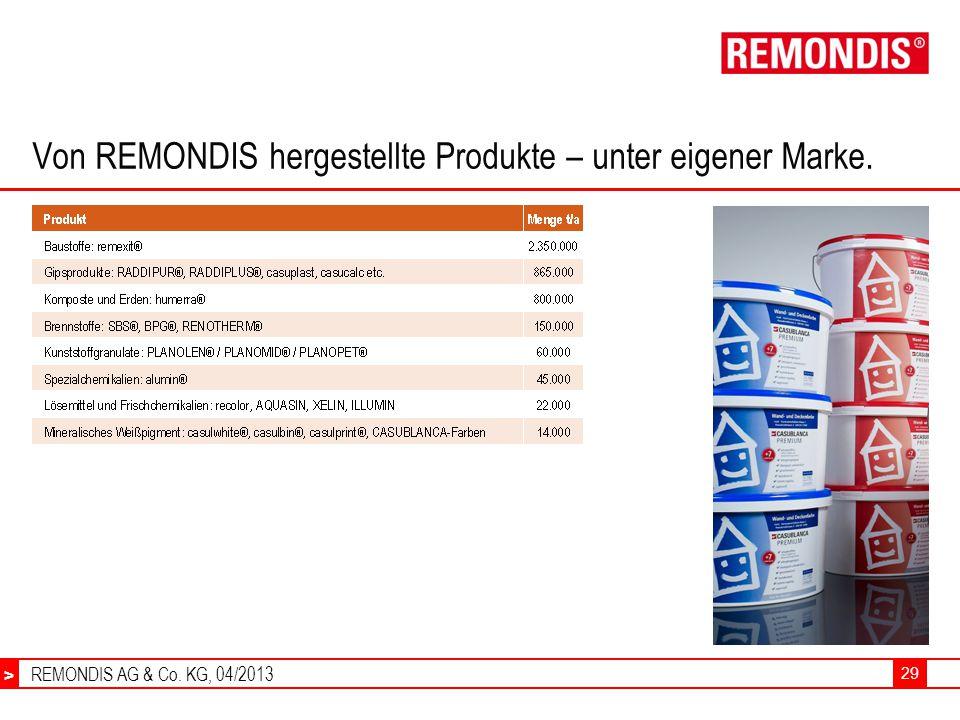 REMONDIS AG & Co. KG, 04/2013 > 29 Von REMONDIS hergestellte Produkte – unter eigener Marke.