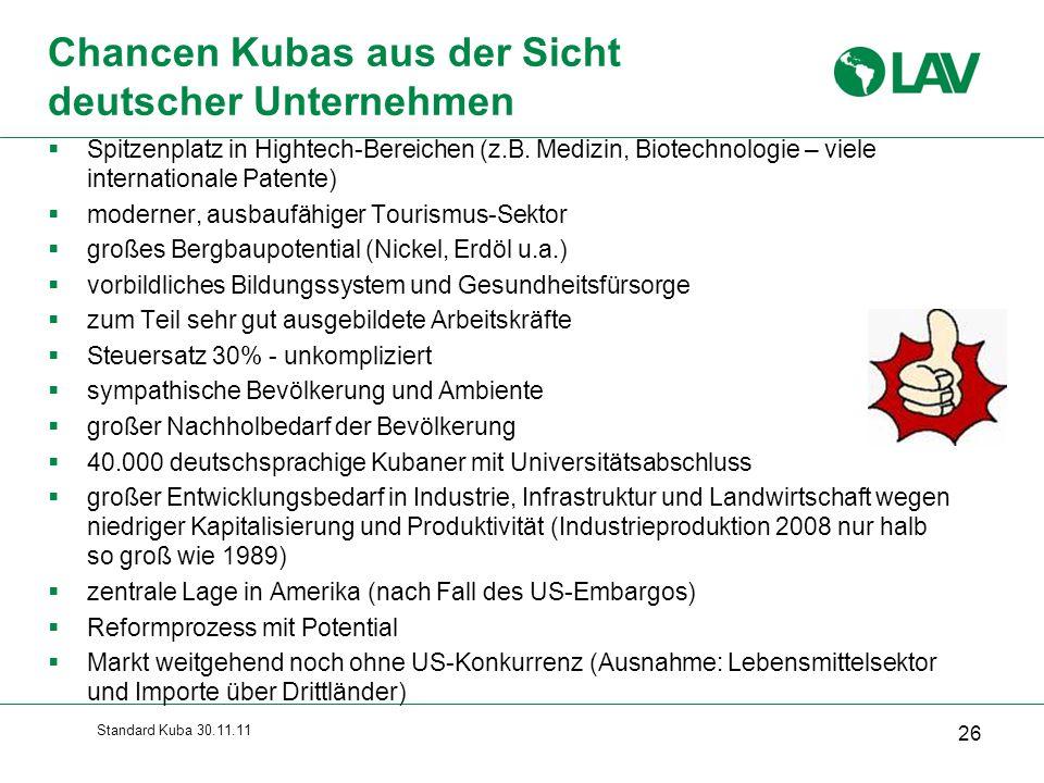 Standard Kuba 30.11.11 26 Chancen Kubas aus der Sicht deutscher Unternehmen  Spitzenplatz in Hightech-Bereichen (z.B. Medizin, Biotechnologie – viele
