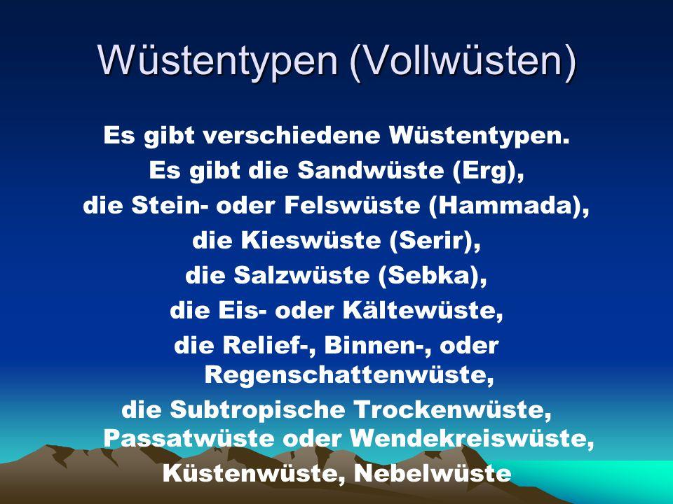 Wüstentypen (Vollwüsten) Es gibt verschiedene Wüstentypen. Es gibt die Sandwüste (Erg), die Stein- oder Felswüste (Hammada), die Kieswüste (Serir), di