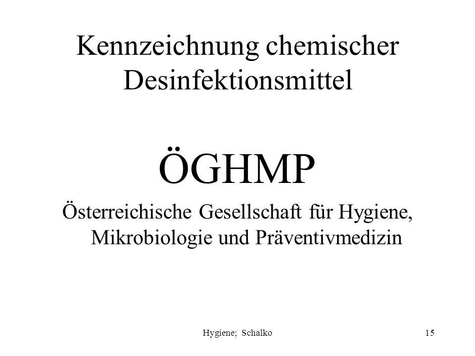"Hygiene; Schalko14 Chemische Desinfektion Alkohole - Propanol, Ethanol Aldehyde - Glutaraldehyd Tenside (quaternäre Ammoniumverbindungen = ""Quats"" Chl"