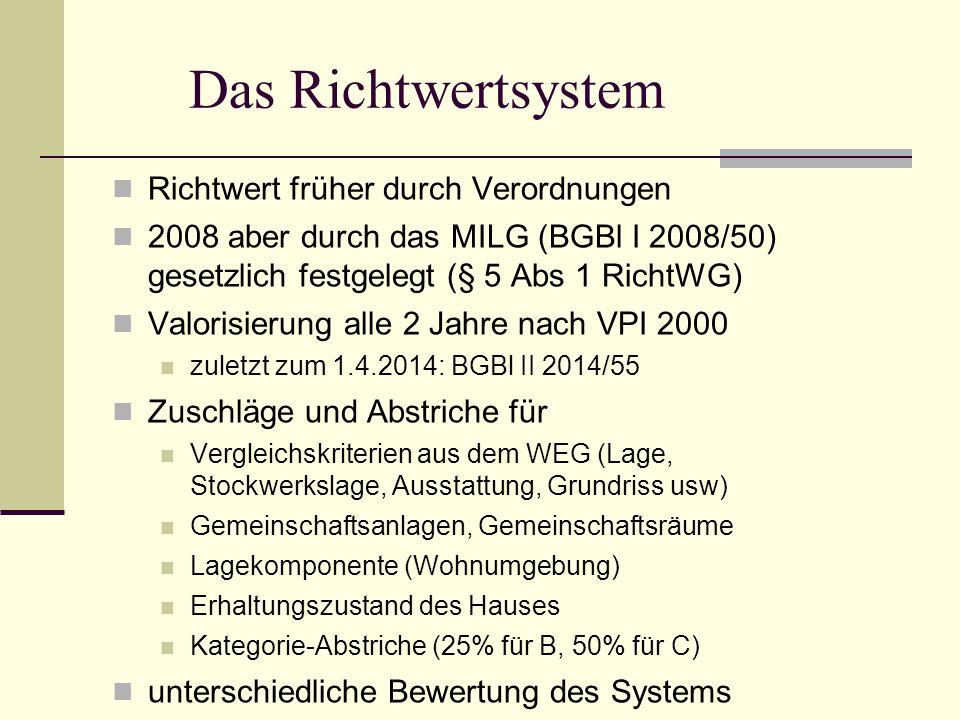 Das Richtwertsystem Richtwert früher durch Verordnungen 2008 aber durch das MILG (BGBl I 2008/50) gesetzlich festgelegt (§ 5 Abs 1 RichtWG) Valorisier