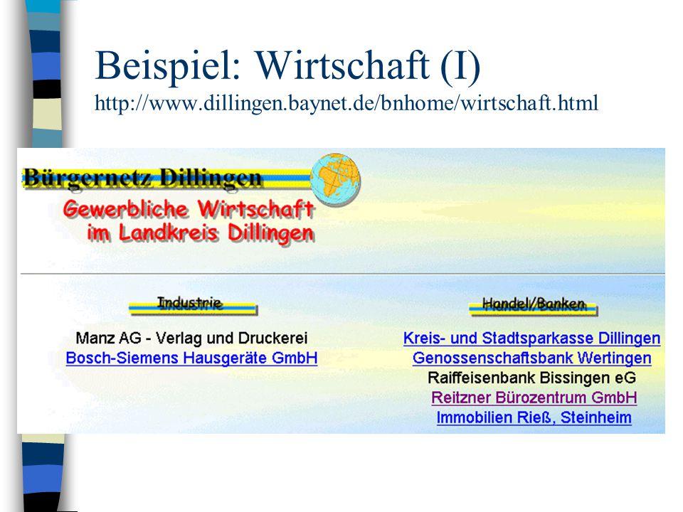 Beispiel: Wirtschaft (I) http://www.dillingen.baynet.de/bnhome/wirtschaft.html