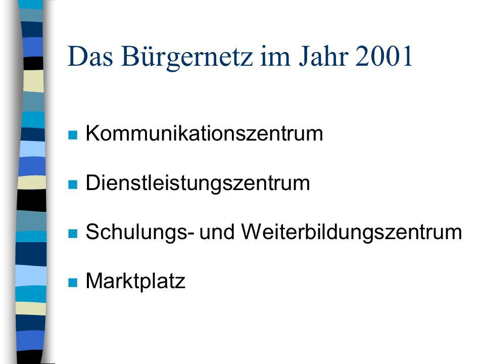 Das Bürgernetz im Jahr 2001 n Kommunikationszentrum n Dienstleistungszentrum n Schulungs- und Weiterbildungszentrum n Marktplatz