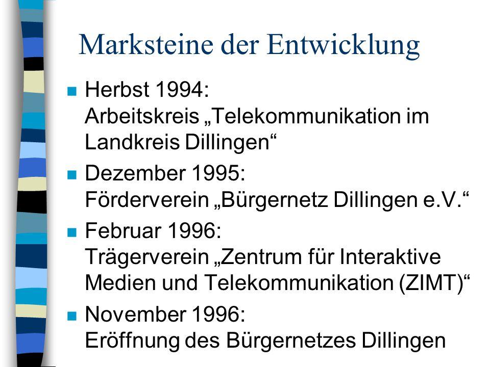 """Marksteine der Entwicklung n Herbst 1994: Arbeitskreis """"Telekommunikation im Landkreis Dillingen n Dezember 1995: Förderverein """"Bürgernetz Dillingen e.V. n Februar 1996: Trägerverein """"Zentrum für Interaktive Medien und Telekommunikation (ZIMT) n November 1996: Eröffnung des Bürgernetzes Dillingen"""