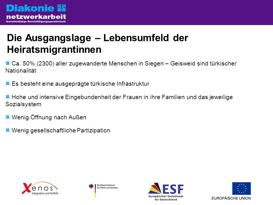 Die Ausgangslage – Lebensumfeld der Heiratsmigrantinnen Ca.