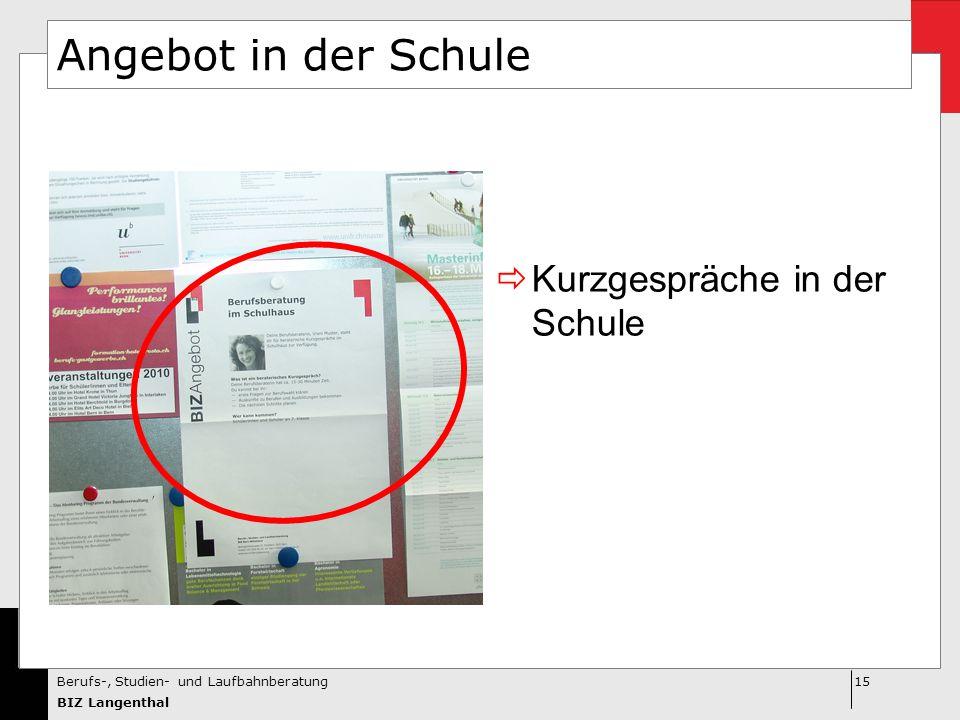 15Berufs-, Studien- und Laufbahnberatung BIZ Langenthal Angebot in der Schule  Kurzgespräche in der Schule