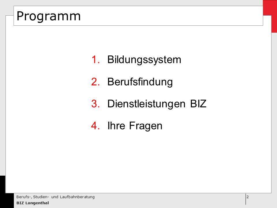 2Berufs-, Studien- und Laufbahnberatung BIZ Langenthal Programm 1.Bildungssystem 2.Berufsfindung 3.Dienstleistungen BIZ 4.Ihre Fragen