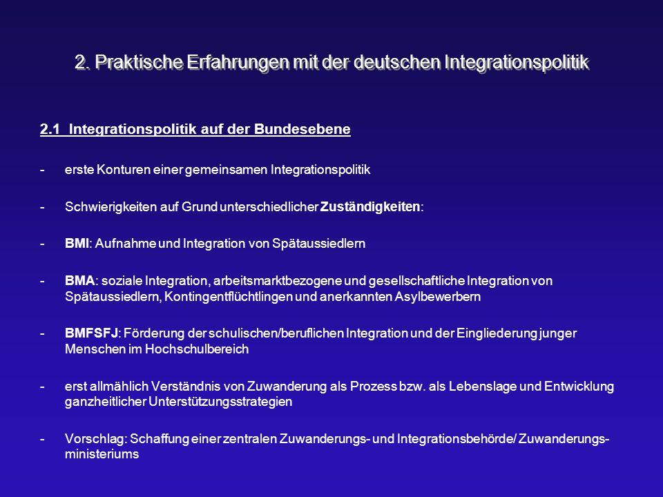 2. Praktische Erfahrungen mit der deutschen Integrationspolitik 2.1 Integrationspolitik auf der Bundesebene -erste Konturen einer gemeinsamen Integrat