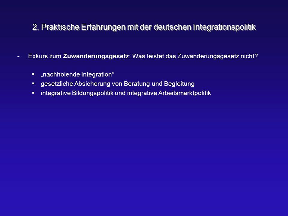 """2. Praktische Erfahrungen mit der deutschen Integrationspolitik -Exkurs zum Zuwanderungsgesetz: Was leistet das Zuwanderungsgesetz nicht?  """"nachholen"""