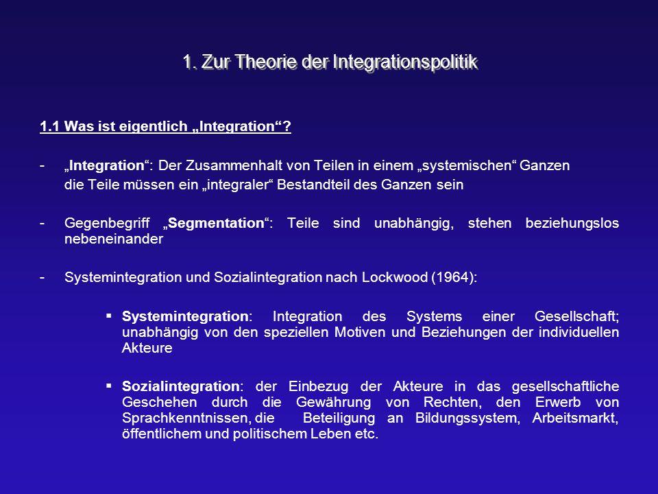 """1. Zur Theorie der Integrationspolitik 1.1 Was ist eigentlich """"Integration""""? -""""Integration"""": Der Zusammenhalt von Teilen in einem """"systemischen"""" Ganze"""