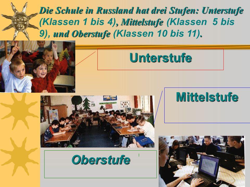 Начальная школа  Die Kinder gehen mit 6 oder 7 Jahren in die Grundschule, die vier Jahre dauert.